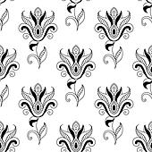 Floral seamless pattern with eastern motifs