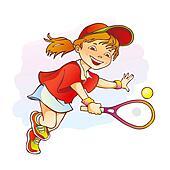 Sportive girl playing tennis