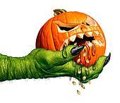 Monster Holding Creepy Pumpkin