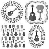 Set of Different Acoustic Guitars Silhouettes