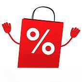 Red sale percent bag wave
