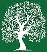 White tree on green background 2