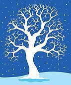 White tree on blue background 1