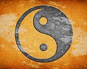 Grunge yin yang symbol