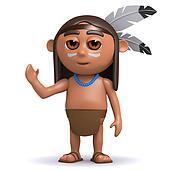 3d Indian boy waves hello