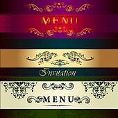 Set of vector menu cards in vintage style