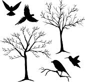 silhouette vector, tree and birds 2