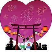 japanese summer festival vector