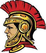 Spartan Trojan with Helmet Mascot