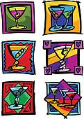 Martini Glasses Vector Image Icons