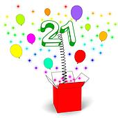 Number Twenty One Surprise Box Showing Birthday Celebration Or Party