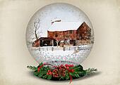 barn in Christmas snow globe