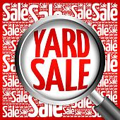 YARD SALE word cloud with magnifying glass