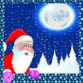Christmas Santa Claus in window vector illustration