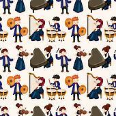 orchestra music player seamless pattern