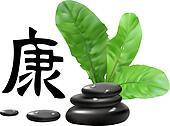 "Zen Stones vith Hieroglyph ""Health"