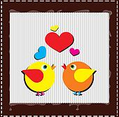 Birds are singing love song from hearts