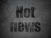 News concept: Hot News on grunge wall background