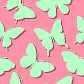 seamless background with butterflies silhouettes