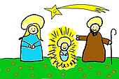 Childlike drawing of the Holy Family
