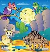 Desert scene with various animals 2