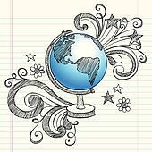 Globe Planet School Sketchy Doodles