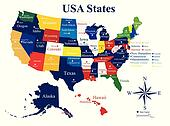 USA map with states and capital cities