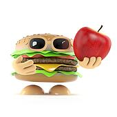 3d Burger holds an apple
