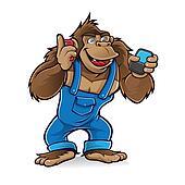 Cartoon gorilla with mobile phones