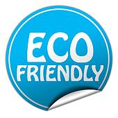 ECO FRIENDLY round blue sticker on white background