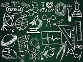 Scientific icons and formulas on the school board - illustration