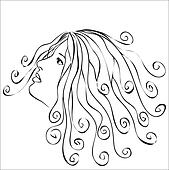 Woman with swirls hair - abstract illustration