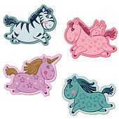 Set of Magic Horses and Unicorns - for scrapbook and design in vector