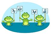 Eco illustration of green frogs, holding signs in vector
