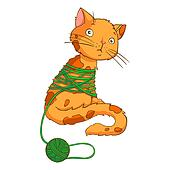 Cartoon cat playing with thread on a white background - vector