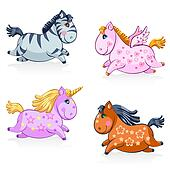 Great Set of Cute Magic Horses and Unicorns - in vector