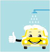 smile cartoon car in car wash