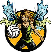 Female Volleyball Player with Fairy
