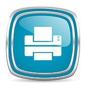 printer blue glossy icon