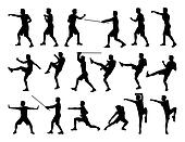 big set of men fighting silhouettes