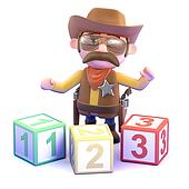 3d Cowboy sheriff learns to count