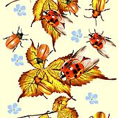 Beautiful seamless pattern with foliage and beetles