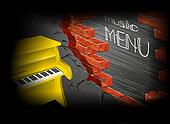 music menu yellow piano