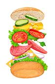 falling sandwich with ingredients in the air on a white backgrou