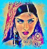 Indian or Asian woman,abstract art.