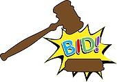 Bid to buy auction gavel cartoon icon