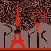 Love in Paris background, decorative Paris word with Eiffel tower