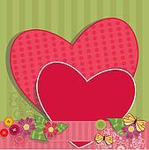 Paper valentine handmade with vintage elements