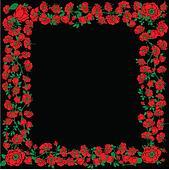 Illustration With Red Rose Floral Frame Decorations On Black Background