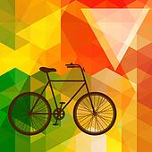 Silhouette of an old bicycle on a colorful mosaic background